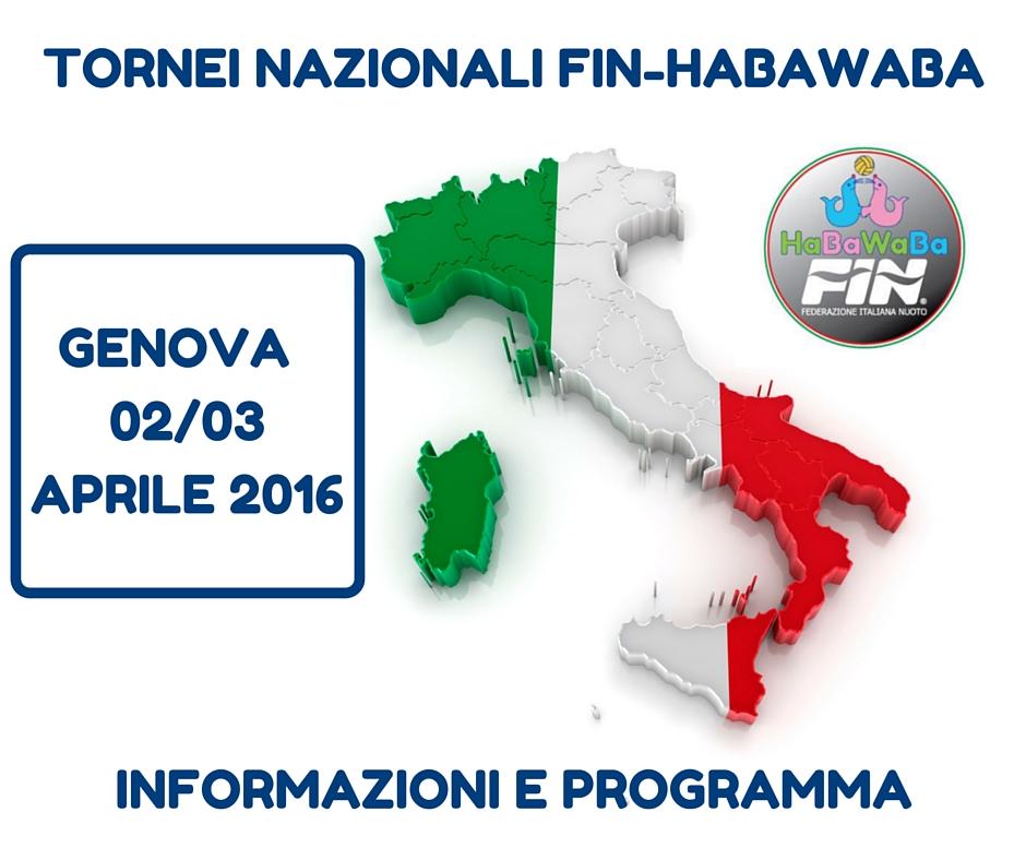 TORNEI NAZIONALI FIN-HABAWABA GENOVA 2.3 APRILE 2016