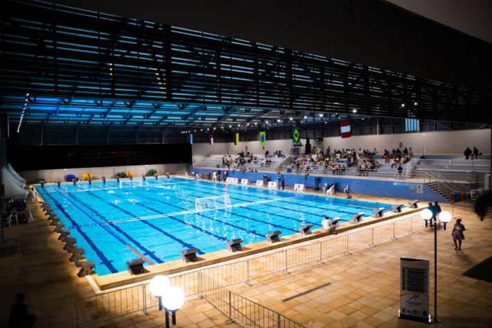 ...and the indoor pool of the ABDA sports center