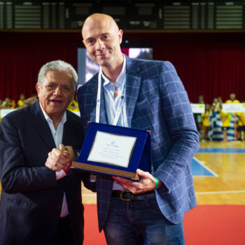 Lucio Pisani, presidente WPD, insieme al Testimonial 2019 Fabio Bencivenga